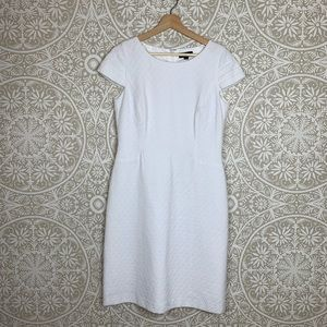 Tahari White Textured Cap Sleeve Sheath Dress